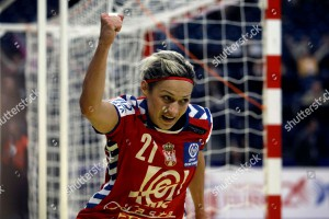 Mandatory Credit: Photo by Marko Drobnjakovic/AP/Shutterstock (6853535r) Serbia's Svetlana Ognjenovic reacts after scoring a goal against Denmark during their Group 1 women's handball European Championship match in Belgrade, Serbia Serbia European Women's Handball
