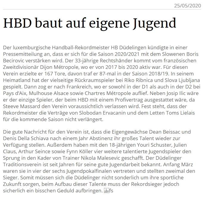HBD baut auf eigene Jugend – Artikel am Tageblatt